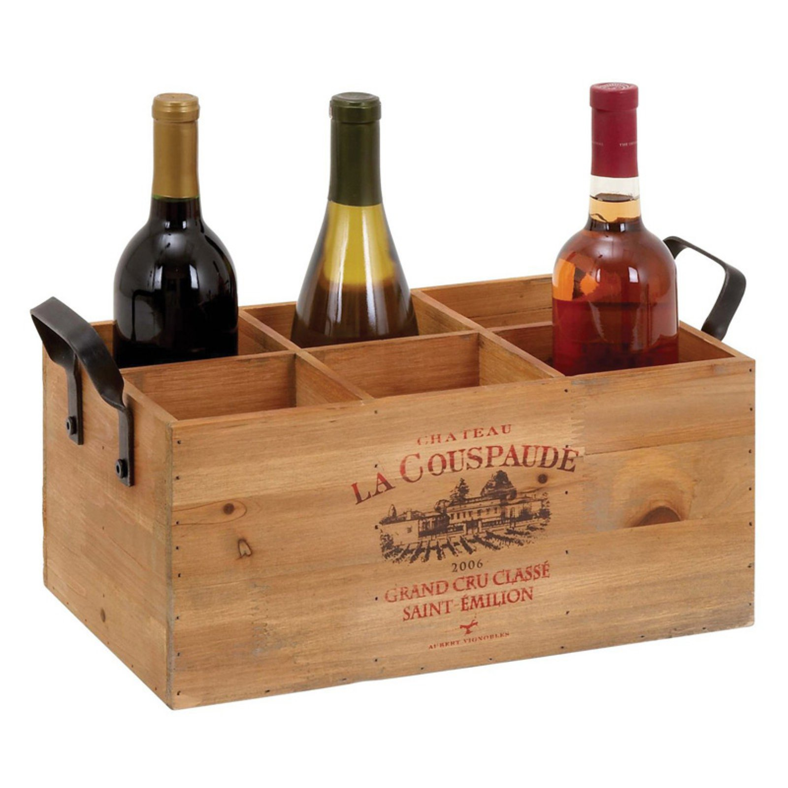 Woodland Imports Chateau 6 Bottle Wood Crate Carrier