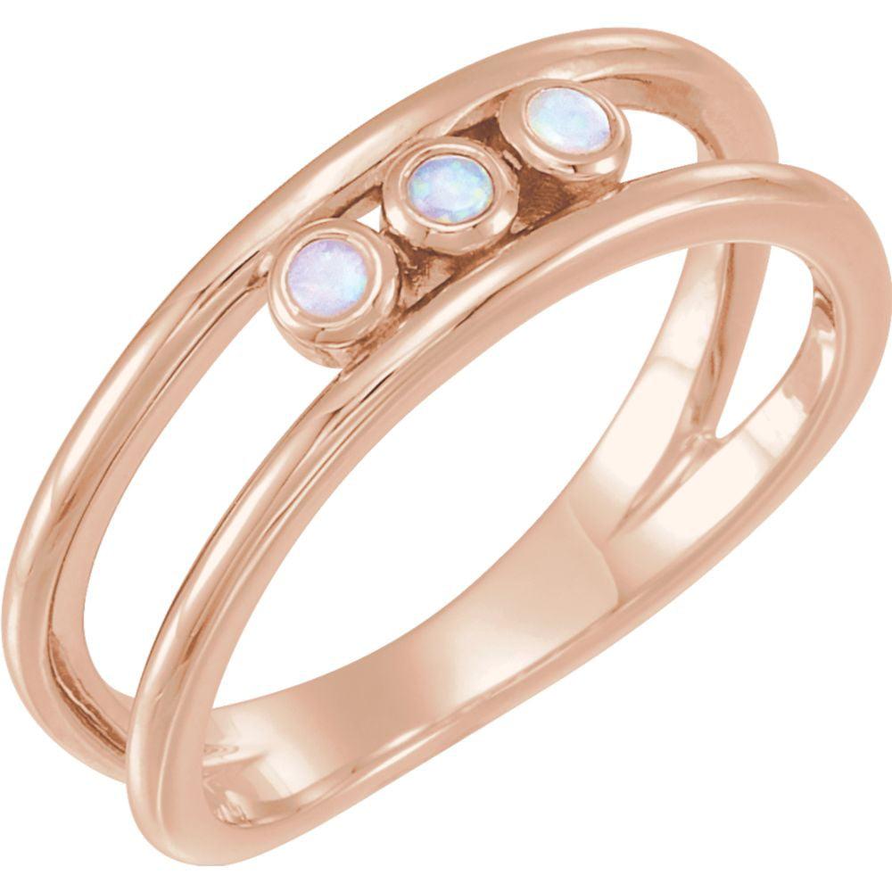 Platinum Opal 3-Stone Bezel Set Negative Space Gemstone Ring by