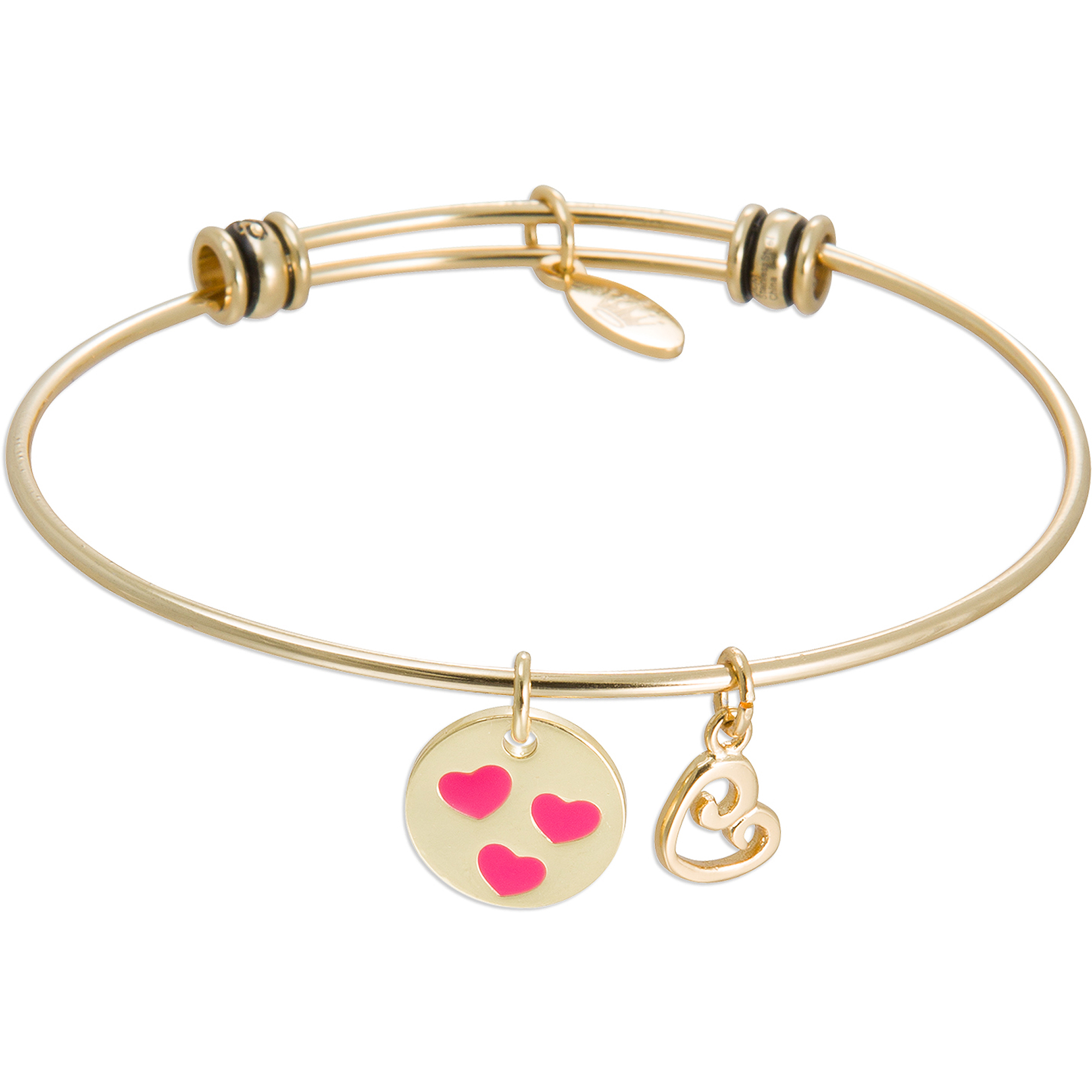 "Connections from Hallmark Stainless Steel Yellow-Tone ""Best Mom Ever"" and Heart Multi-Charm Wire Bangle, 7.75"