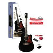 Spectrum AIL-128 Full Size Black Cutaway Acoustic Guitar