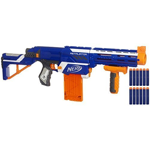 Nerf N-strike Elite Retaliator (Colors May Vary) - 4 Blasters in 1 - 3 Interchangeable Parts - Fires up to 90 Feet - Trademarks Hasbro - Played By Young & Old - Improves Family Bonding for Your Child