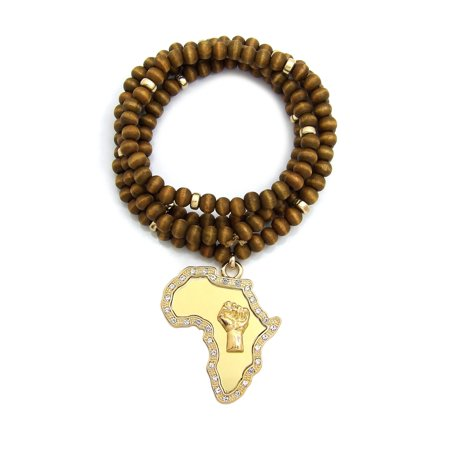 Power Fist on Stone Stud Edge Africa Mirror Pendant with Wooden Bead and Metal Disc Necklace, Brown/Gold-Tone