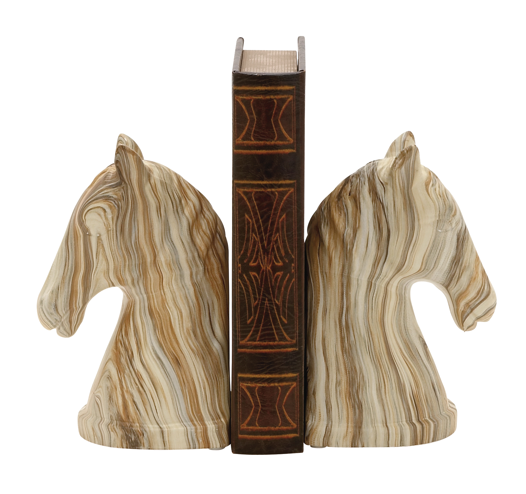 Decmode Pair Of Contemporary 8 Inch Marbled Ceramic Horse Head Bookends
