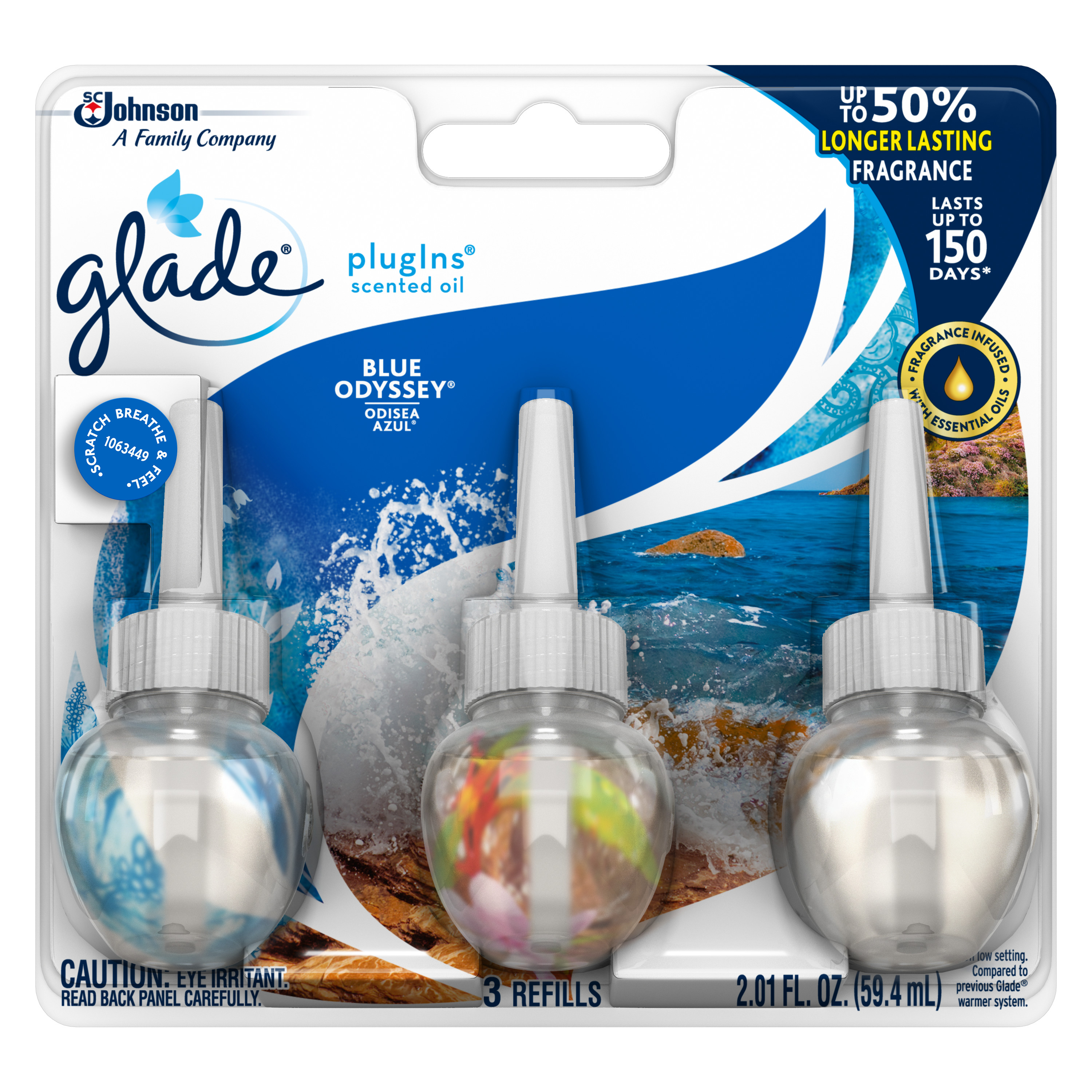 Glade PlugIns Scented Oil Refill Blue Odyssey, Essential Oil Infused Wall Plug In, Up to 50 Days of Continuous Fragrance, 2.01 FL OZ, Pack of 3