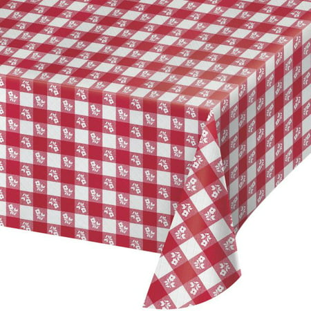 Red Gingham Plastic Tablecloth Each Walmart Com