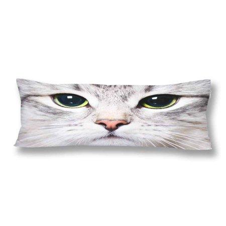 GCKG White Cat Kitten Big Green Eyes Pillow Covers Pillowcase Zipper 20x60 inches, Funny Animal Body Pillow Case Protector - image 2 de 2