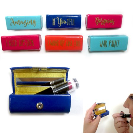 Lipstick Case Holder Portable Mirror Inside Purse Makeup Button Closure (Purse Mirror Case)