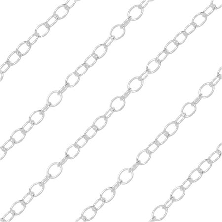 Bulk Cable Chain, 2.2x1.8mm Oval Links, Sold By The Foot, Sterling Silver