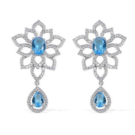 Silvertone Oval Fuchsia Glass Dangle Drop Earrings for Women Cttw 3.3 Jewelry Gift