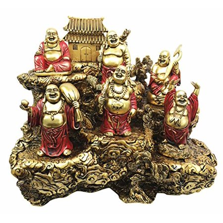 Hotei Fat Buddha Maitreya Laughing Budai Prosperity Wealth Happiness and Luck Miniature Figurine Set of 6 With Buddhist Zen Monastery Temple On Mountain Display Sculpture Eastern -