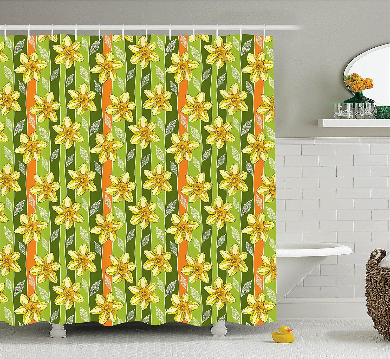Daffodil Decor Shower Curtain Set by , Modern Daffodils I...