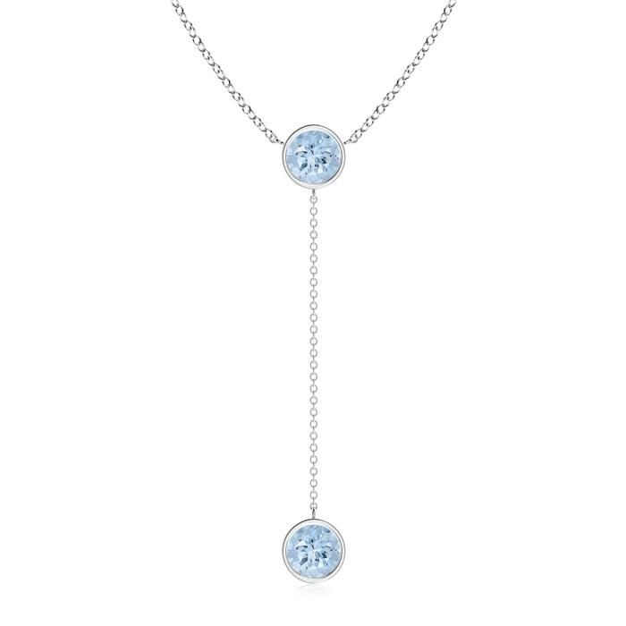 March Birthstone Pendant Necklaces By Yard Bezel-Set Round Aquamarine Drop Necklace in 950 Platinum (7mm Aquamarine)... by Angara.com