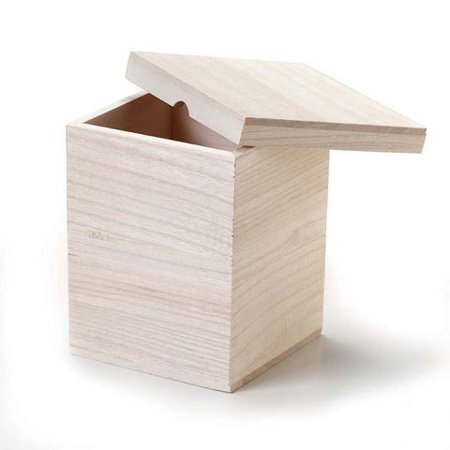 Unfinished Wood Craft Box with Lid: 4.5 x 5.25 inches - Unfinished Wood Craft Supplies