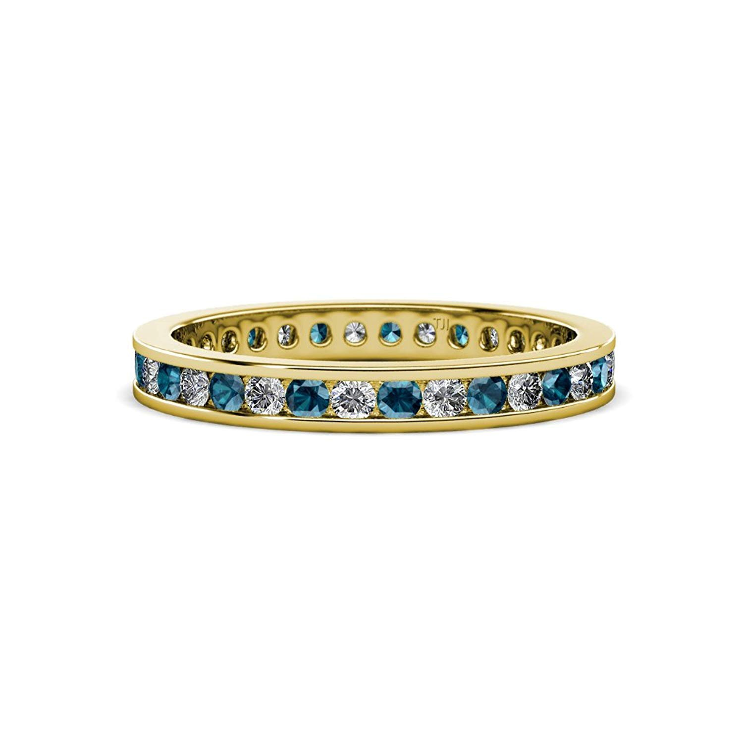 Blue and White Diamond 2mm Channel Set Eternity Band 0.81 to 0.96 Carat tw in 14K Yellow Gold.size 8.5 by TriJewels