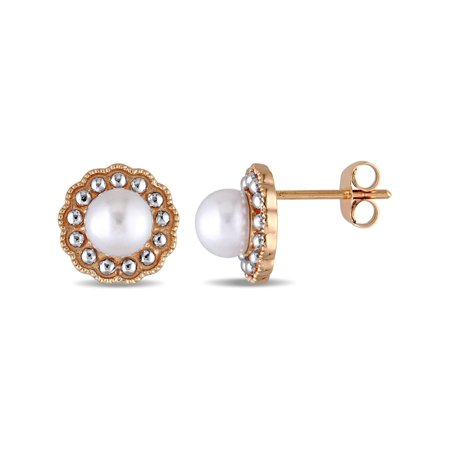 White Freshwater Cultured Pearl 5.5-6mm Earrings in 10K Pink Gold - image 3 de 3