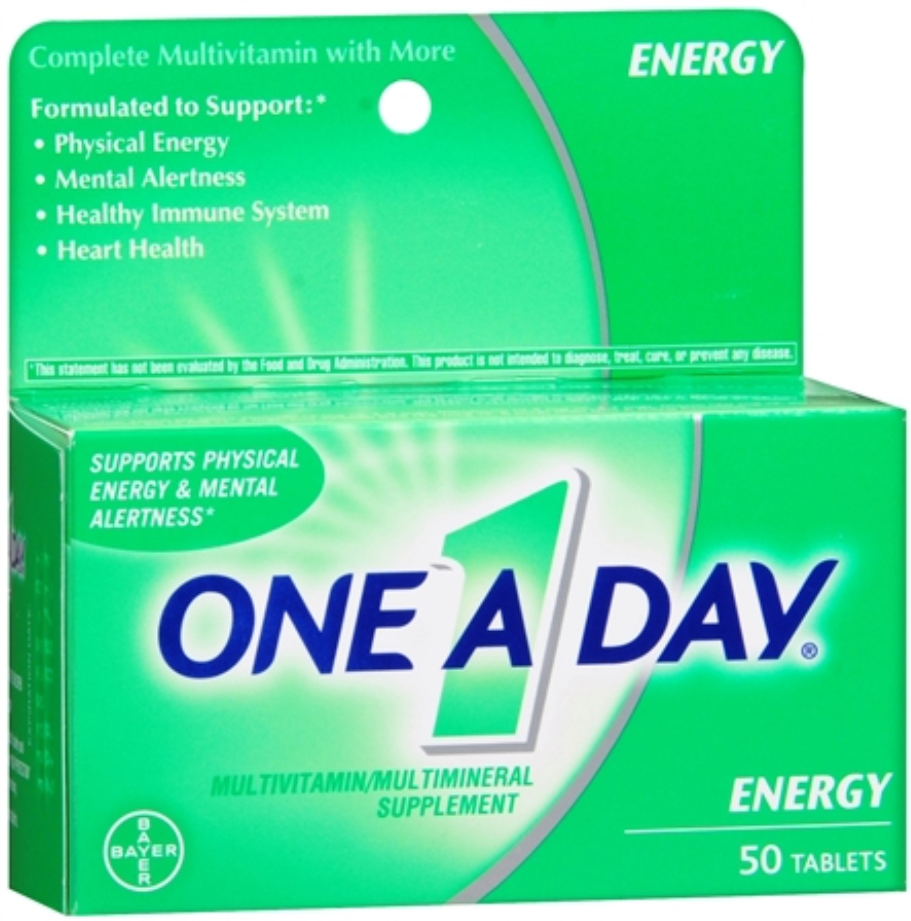One-A-Day All Day Energy Tablets 50 Tablets (Pack of 4)