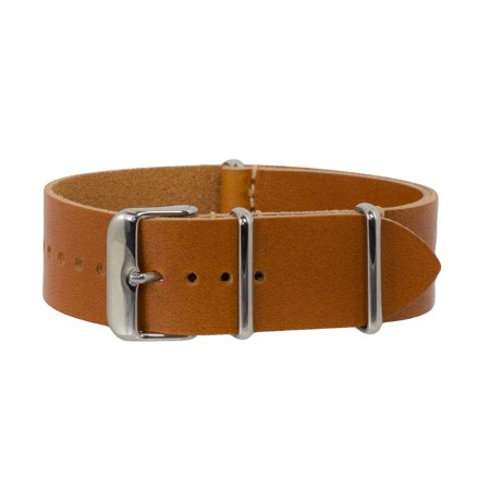 Light Brown Vegetable Tanned Leather NATO Watchband (18, 20 & 22mm)