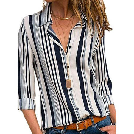 Women's V Neck Stripes Roll up Sleeve Button Down Blouses
