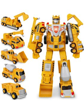 Construction Assemble Toy, Transform Robot Car Toys Truck, Toddler Pull Back Play Vehicles, Dump, Crane, Excavator, Bulldozer, Cars Set for 3 4 5 6 Years Old Boy Girls Kids Xmas Birthday Gift