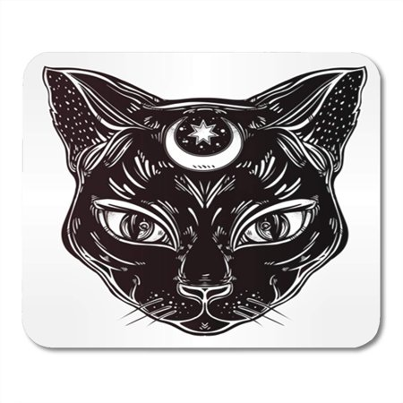 LADDKE Black Cat Head Portrait Moon Ideal Halloween Tattoo Egyptian Mousepad Mouse Pad Mouse Mat 9x10 inch - Halloween Math Ideas For First Grade
