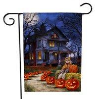 Halloween Garden Flag, 18.5 x 13 Inch Double Side Lantern Pumpkin Outdoor Flag for Home Garden Halloween Decoration (Poles & Stands Not Include) (Castle)