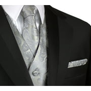 Italian Design, Men's Formal Tuxedo Vest, Tie & Hankie Set for Prom, Wedding, Cruise in Silver Paisley