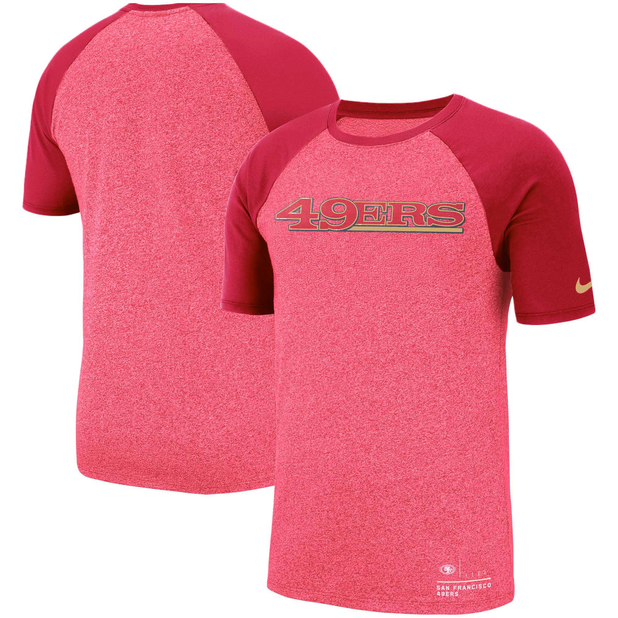 San Francisco 49ers Nike Fan Gear Marled Raglan Performance T Shirt  HHynayfM
