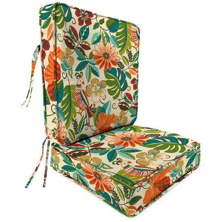 Jordan Manufacturing Outdoor Patio 2 Pc Boxed Seat Chair Cushion With Piping Lensing Jungle