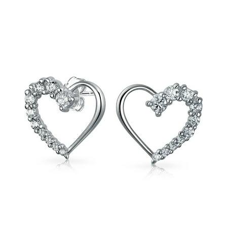 - Cubic Zirconia Pave CZ Open Heart Shaped Love Is A Journey Stud Earrings For Women For Girlfriend 925 Sterling Silver