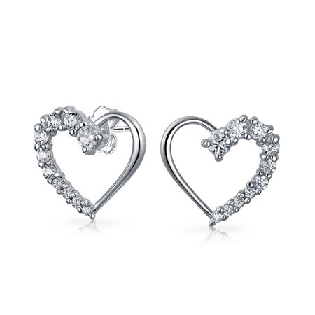 Cubic Zirconia Pave CZ Open Heart Shaped Love Is A Journey Stud Earrings For Women For Girlfriend 925 Sterling Silver