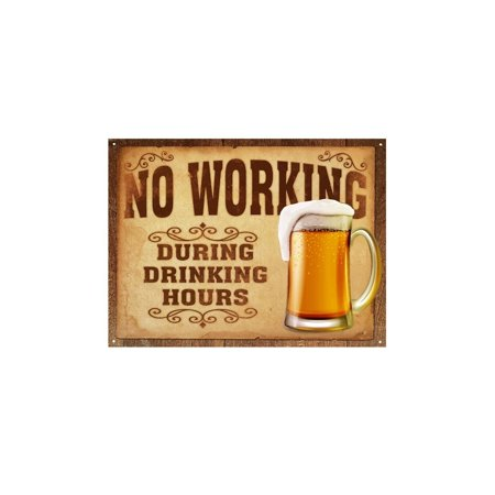 Funny Wall Signs for Home & Kitchen, 'No Working During Drinking Hours' Vintage Tin Signs, Funny Vintage Kitchen Signs, Retro Signs for Man Cave, Beer Novelty Signs, Funny Door Signs About Beer for $<!---->