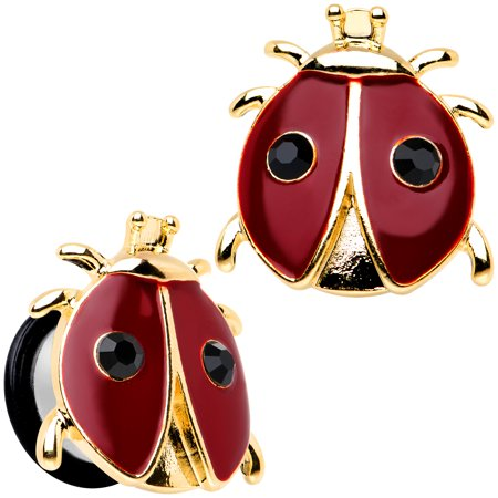 Body Candy Stainless Steel Red and Black Ladybug Single Flare Plug Set 9/16