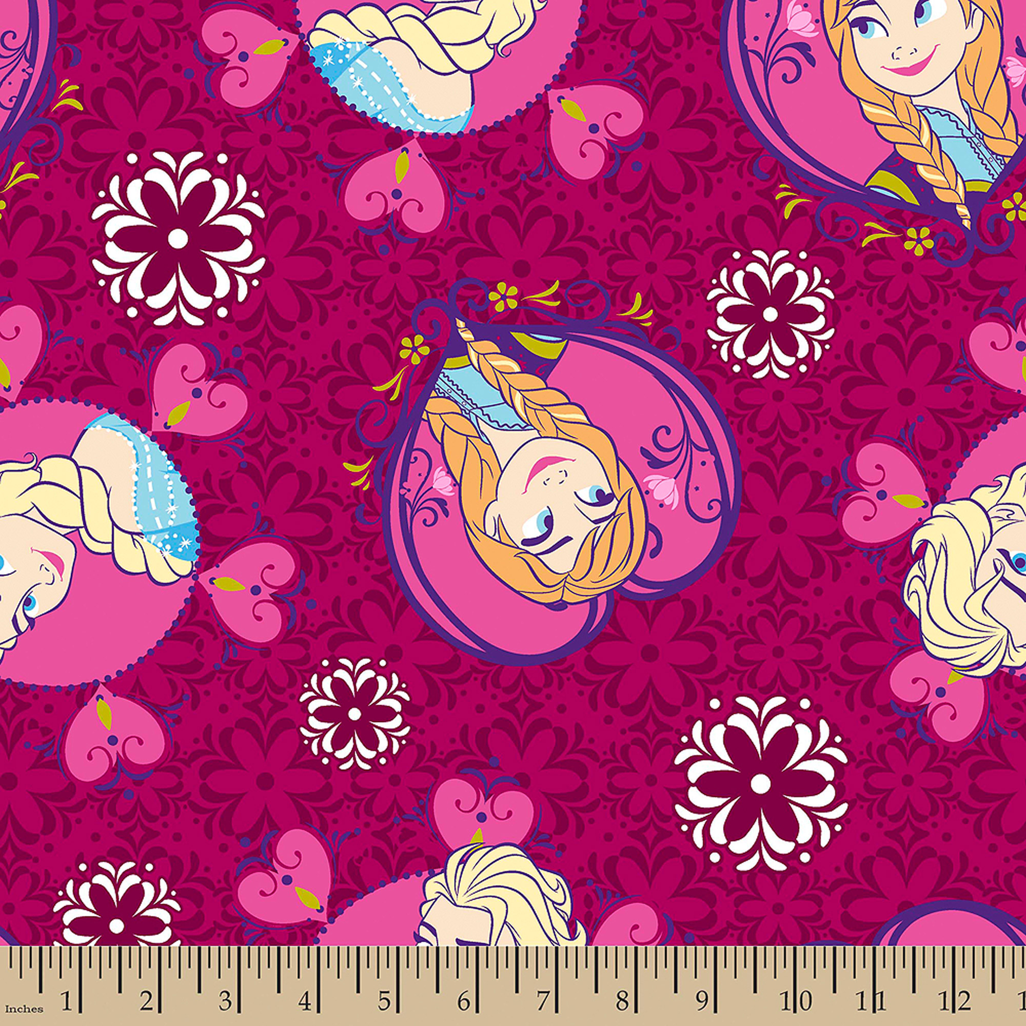 "Disney Frozen Sisters Framed Toss, Minky Fleece, Pink, 59/60"" Wide, Fabric By The Yard"
