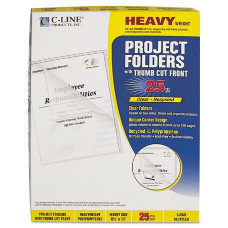 C-line Project Folders, Jacket, Letter, Poly, Clear, 25/Box (CLI62127)