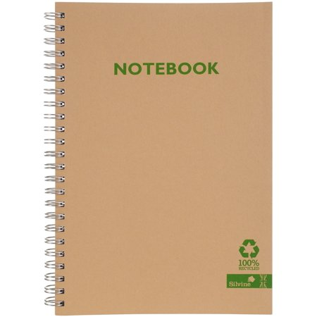 """Silvine A5 Twin Wirebound Notebook 5.83""""X8.35""""-120 Pages, Brown Kraft Cover - image 1 de 1"""