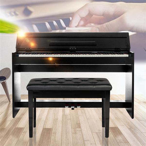 Yaheetech Leather Piano BenchBlack Solid Wood PU Padded Double Duet Keyboard Seat w/ Book Storage