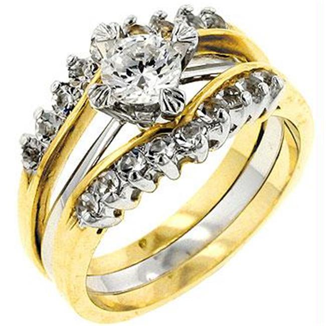 Two-Tone CZ Anniversary Ring, <b>Size :</b> 10
