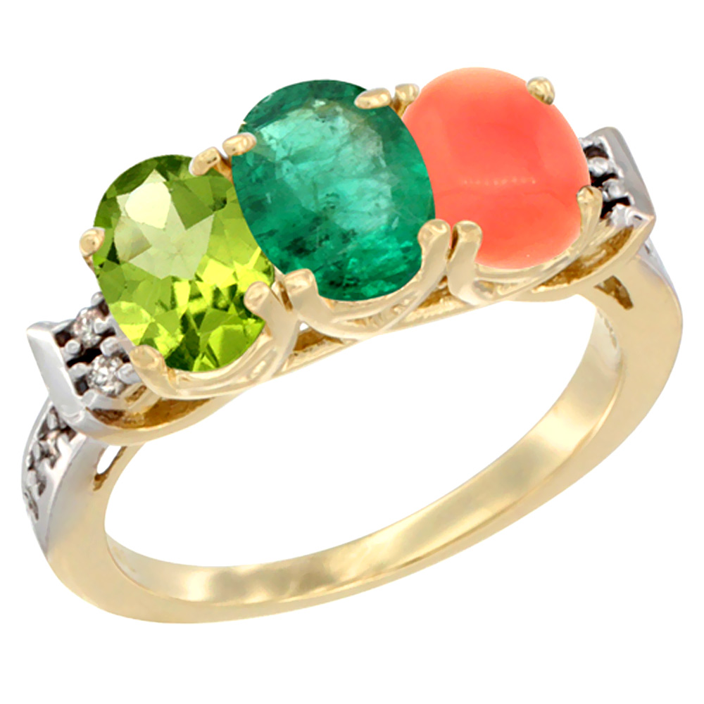 10K Yellow Gold Natural Peridot, Emerald & Coral Ring 3-Stone Oval 7x5 mm Diamond Accent, sizes 5 10 by WorldJewels