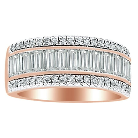 (2 Ct White Natural Diamond Etruscan Style Anniversary Band Ring in 14k Rose Gold Ring Size - 4)