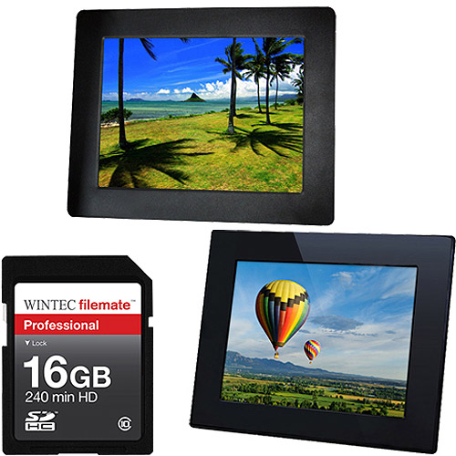 Digital Photo Frame with 16GB SDHC Memory Card Value Bundle