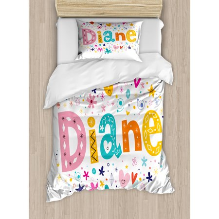 Diane Twin Size Duvet Cover Set, Festive Arrangement of Letters Baby Girl Name with Geometric Shapes Circles Rhombuses, Decorative 2 Piece Bedding Set with 1 Pillow Sham, Multicolor, by