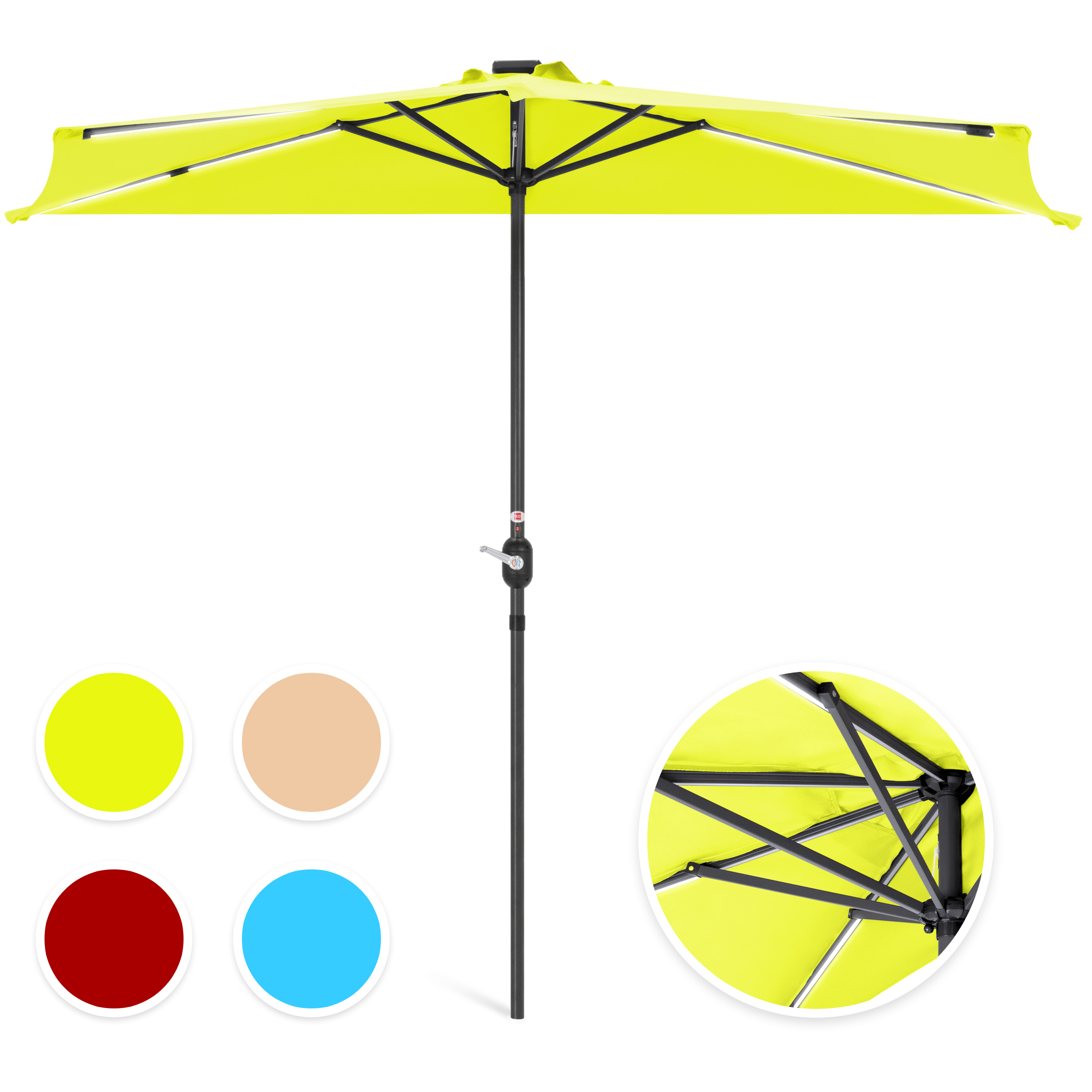 Best Choice Products 9ft Solar LED Strip Lighted Half Patio Umbrella
