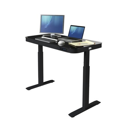 Seville Classics AIRLIFT® Tempered Glass Electric Standing Desk Dual 2.4A USB Charging Port and 3 Memory Buttons Height Display (Max. Height 47
