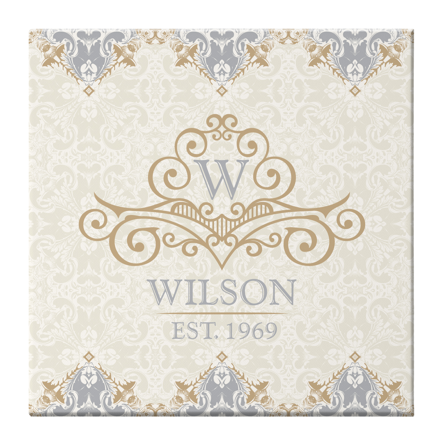 Personalized Elegant Monogram & Name Canvas - Available in 2 Colors and 2 Sizes