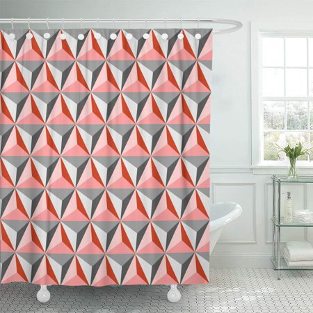 KSADK Geo Tetrahedrons Pattern in Coral and Grey Abstract Geometric Studs Diamond Shower Curtain Bathroom Curtain 66x72 inch ()