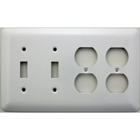 Mulberry Princess Style White 4 Gang Combination Switch Plate - 2 Toggle 2 Duplex (Hole 2 Gang Aluminum Outlet)