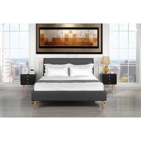 size 40 58b77 94297 Mid Century Modern Upholstered Bed Frame with Tufted Headboard (Queen, Dark  Grey)