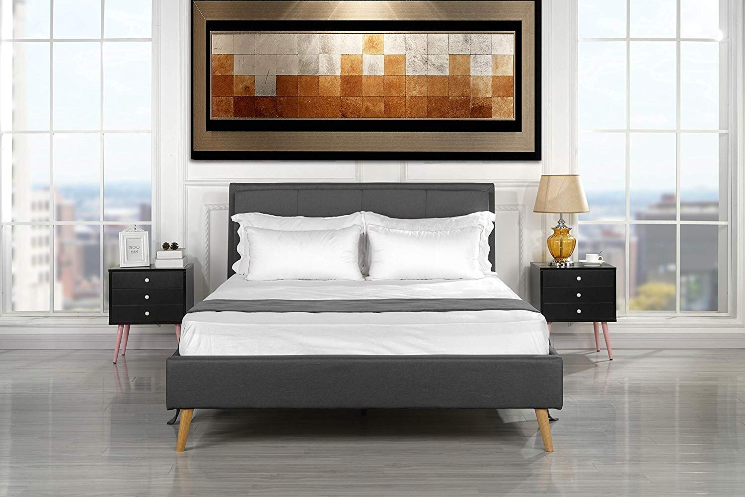 Attrayant Mid Century Modern Upholstered Bed Frame With Tufted Headboard (Full, Dark  Grey)   Walmart.com