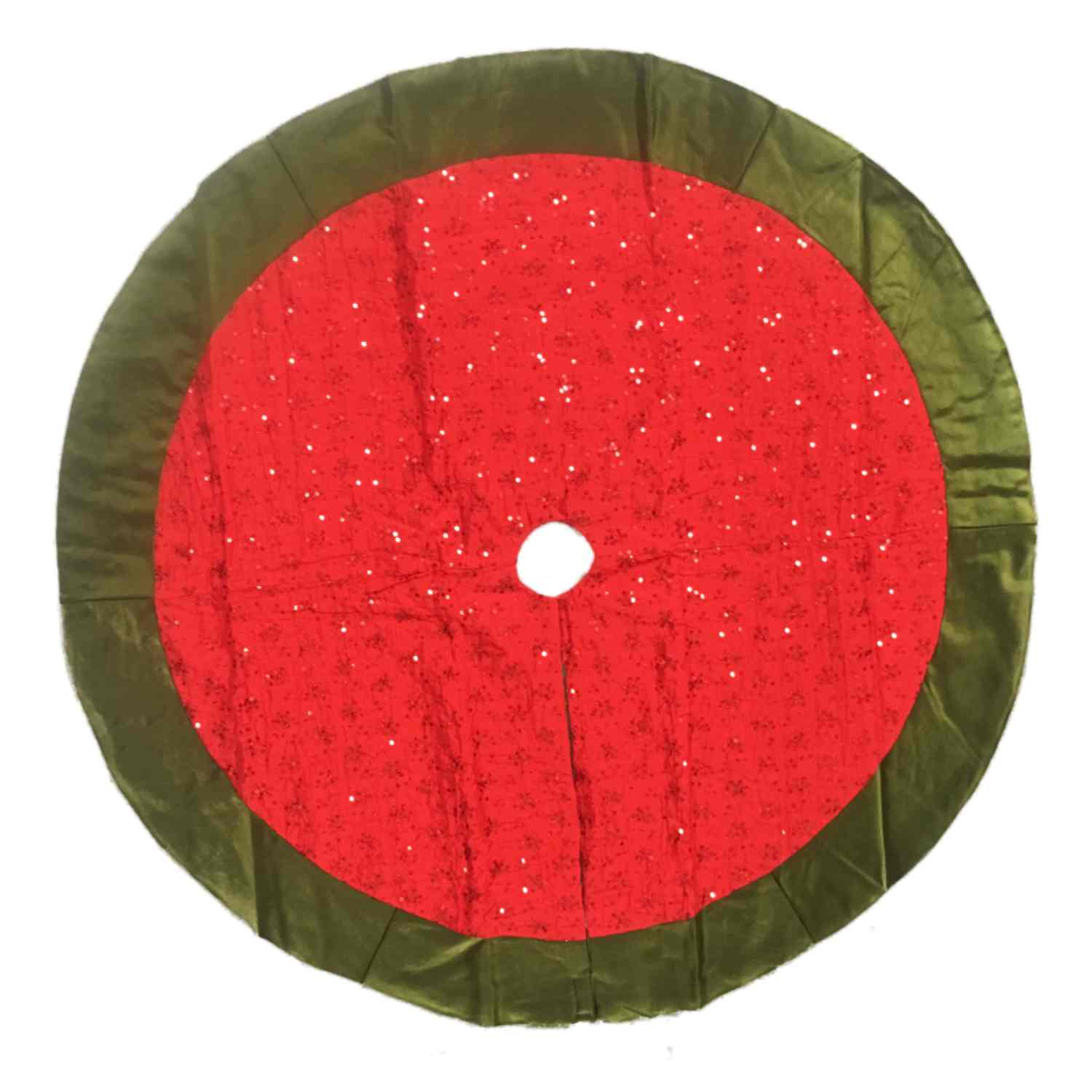 Red & Green Sequin Satin Christmas Tree Skirt 48 Inch Holiday Decor