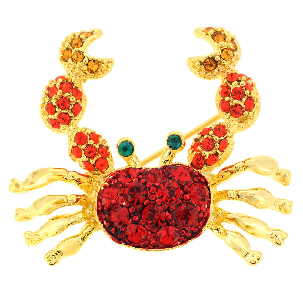 Ruby Crab Pin Brooch by